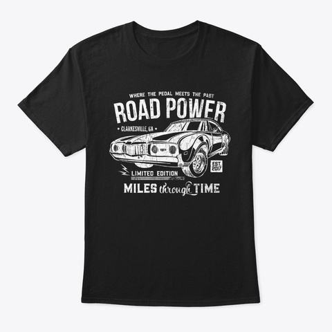 Road Power (White) Black T-Shirt Front