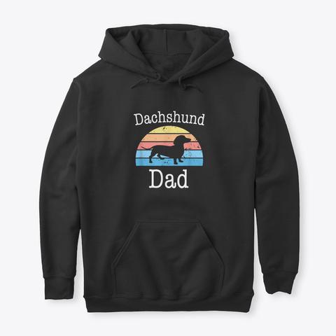 Dachshund Dad Retro Vintage Funny Doxie  Black T-Shirt Front