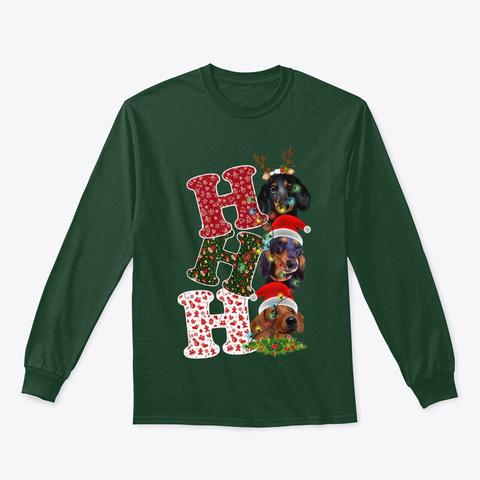Santa Ho Ho Ho Dachshund Dog Funny Forest Green T-Shirt Front