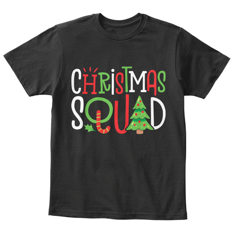 Christmas Squad Matching Family Pajamas Black T-Shirt Front