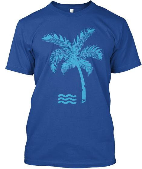 T Shirt California Palm Tree Beach Deep Royal T-Shirt Front