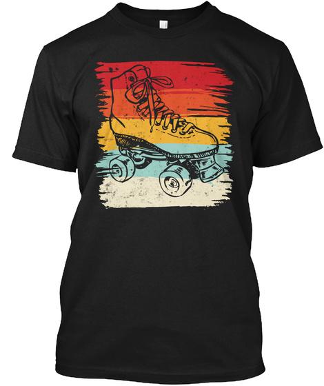 Retro Roller Skating T Shirts For Roller Black T-Shirt Front