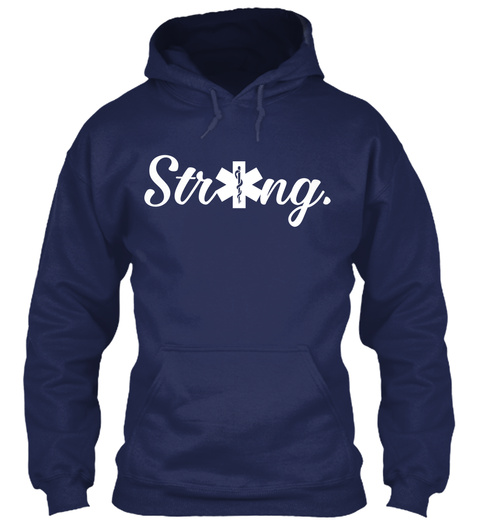 Strong.  Navy T-Shirt Front
