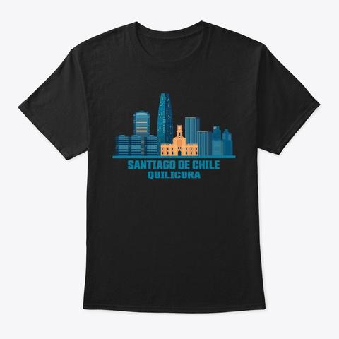 Santiago De Chile Quilicura Skyline Black T-Shirt Front