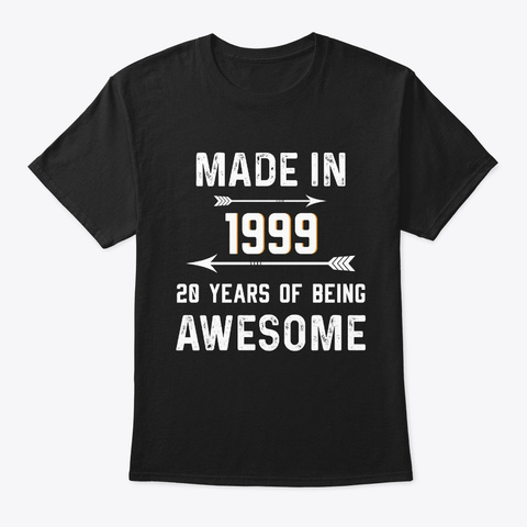 Made In 1999 Vintage Style Black T-Shirt Front