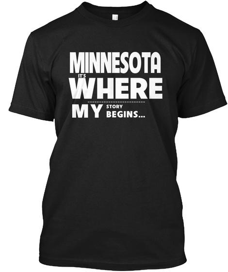 Story Begins Minnesota Black T-Shirt Front