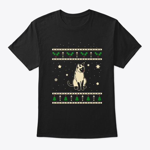 Christmas Traditional Siamese Gift Black T-Shirt Front