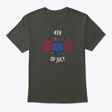 4th Of July   American Flag Smoke Gray T-Shirt Front