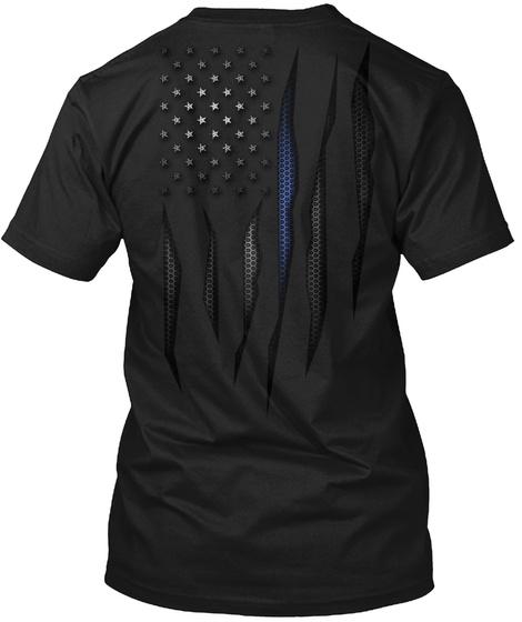 Carbon Fiber Onyx Thin Blue Line Flag Black T-Shirt Back
