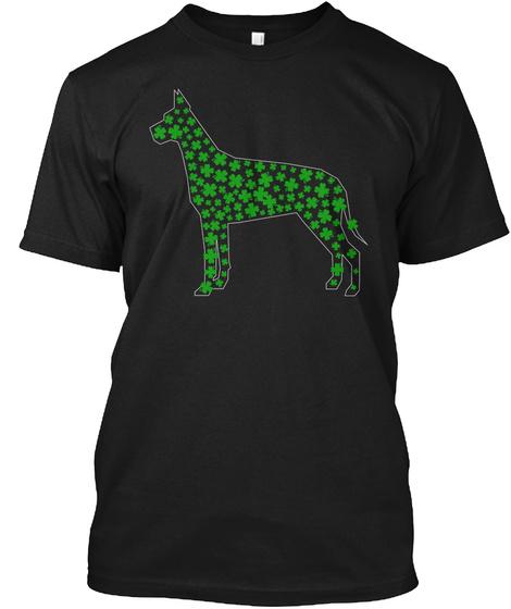 Great Dane Dog Gift Paddy's Day Shamrock Black T-Shirt Front