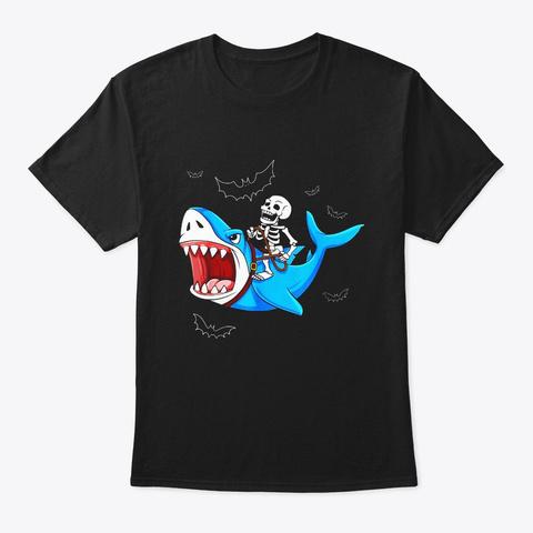 Skeleton Riding Shark Funny Halloween Black T-Shirt Front