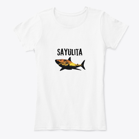 Sayulita Mexico Shark White T-Shirt Front