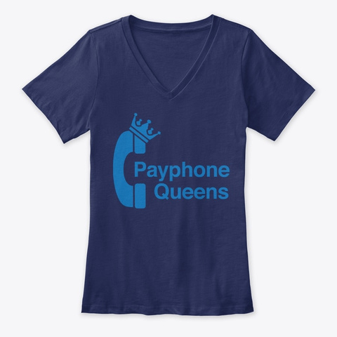 Payphone Queens Logo (Blue Print) Navy T-Shirt Front