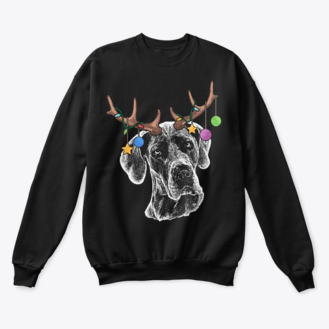 Great Dane Christmas Ornaments Black T-Shirt Front