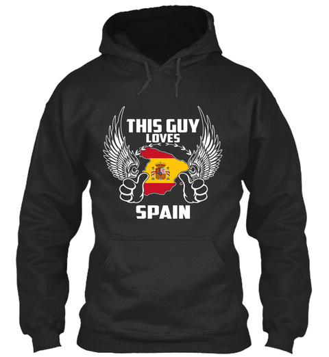 This Guy Loves Spain Jet Black T-Shirt Front