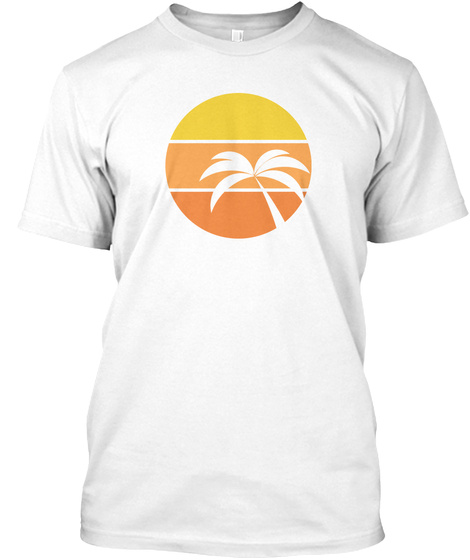 Summer 2018   Palm Tree White T-Shirt Front