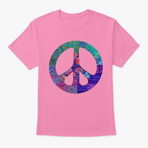 Purple Floral Peace Sign  Pink T-Shirt Front