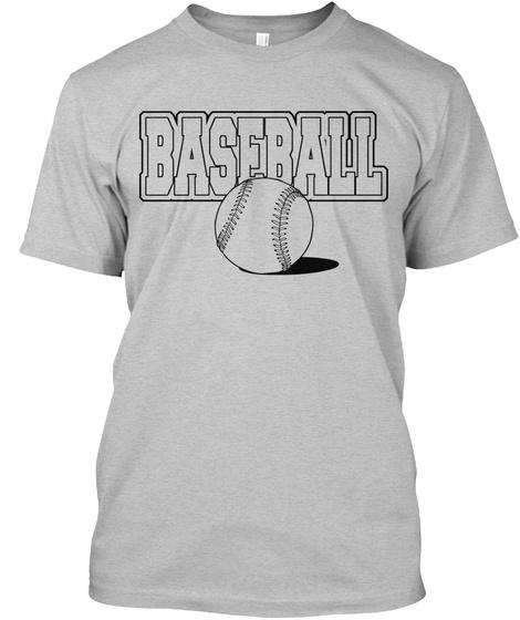 T Shirt Baseball Sports Tee Light Heather Grey  T-Shirt Front