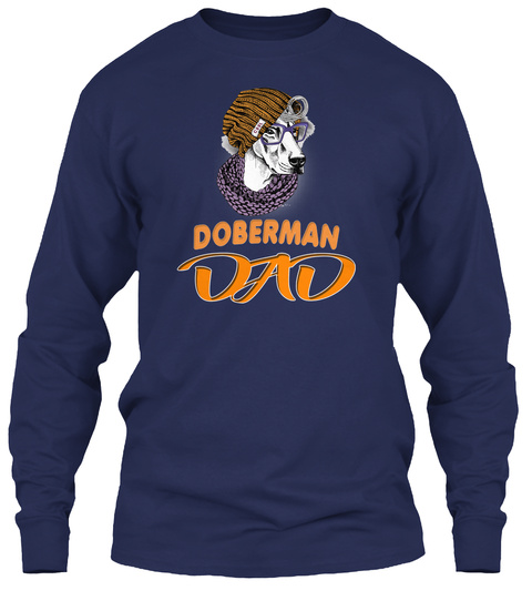 Doberman In A Hipster Dad Navy T-Shirt Front