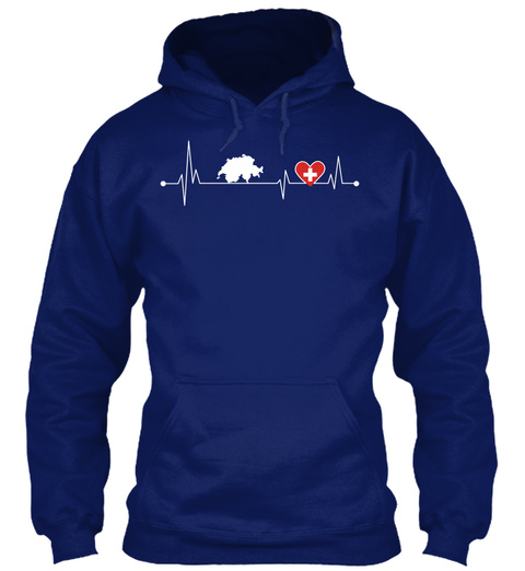 Switzerland Hearbeat Oxford Navy T-Shirt Front