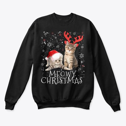 Cat Christmas T Shirt Cat Sweater Shirt Black T-Shirt Front