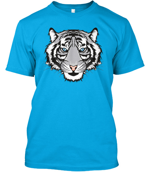 Mens Tiger Face Shirt For Tiger Lovers Turquoise T-Shirt Front