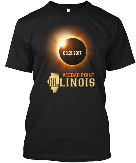 Eclipse Cedar Point Il. Customizable City Black T-Shirt Front
