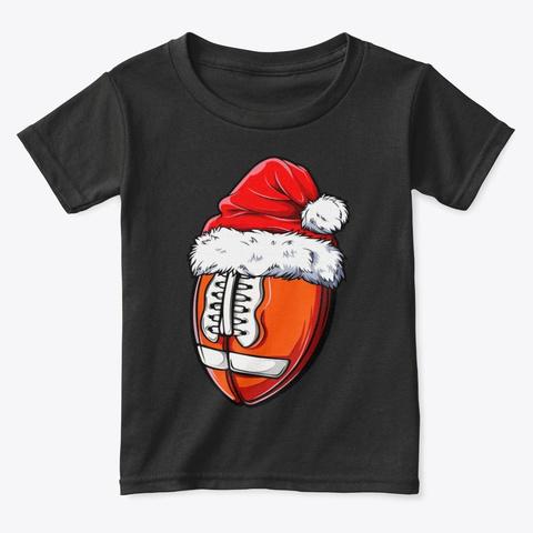Christmas Football Ball Santa Hat Funny Black T-Shirt Front