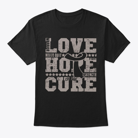 Brain Cancer Love Hope Cure Awareness Black T-Shirt Front