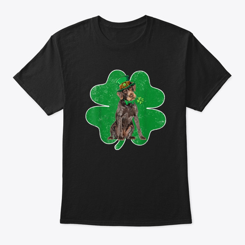 German Wirehaired Pointer Patrick's Day Black T-Shirt Front