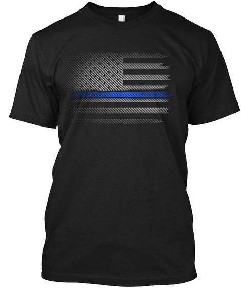 Thin Blue Line Carbon Fiber Flag Black T-Shirt Front