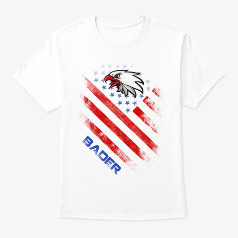 Bader Name Tee In U.S. Flag Style White T-Shirt Front