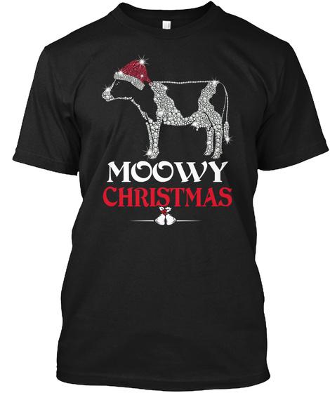 Moowy Christmas Black T-Shirt Front