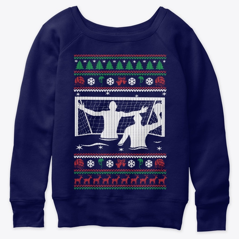 Water Polo Ugly Christmas Funny T Shirt Navy  T-Shirt Front