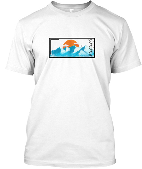 Hand Painted Mountain Range Design White T-Shirt Front