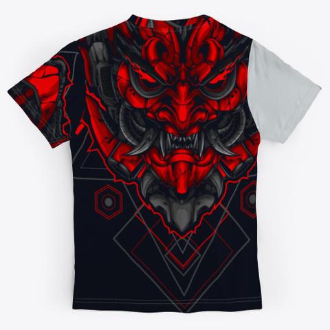 Japanese Red Mask Light Grey T-Shirt Back