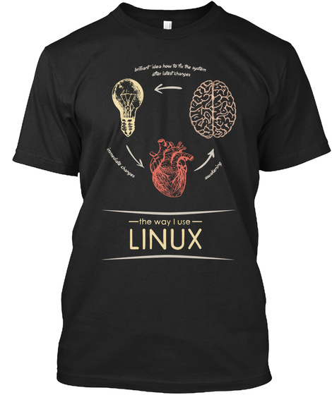 The Way I Use Linux (Eu) Black T-Shirt Front