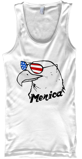 Merica White Tank Top Front
