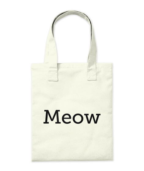 Meow Natural Tote Bag Back