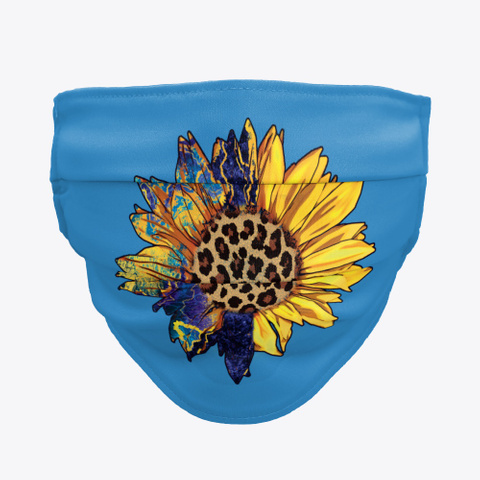 Awesome Sunflower Face Mask Denim Blue T-Shirt Front