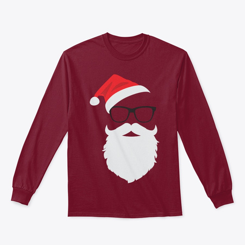 Hipster Santa Face With Hat Beard Cardinal Red T-Shirt Front
