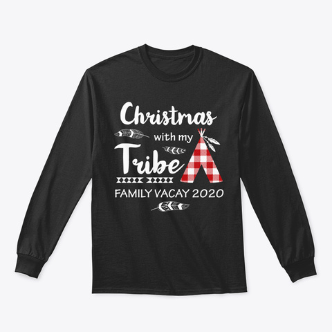 Christmas With My Tribe Buffalo Family P Black T-Shirt Front