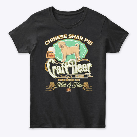 D Chinese Shar Pei Gifts Black T-Shirt Front