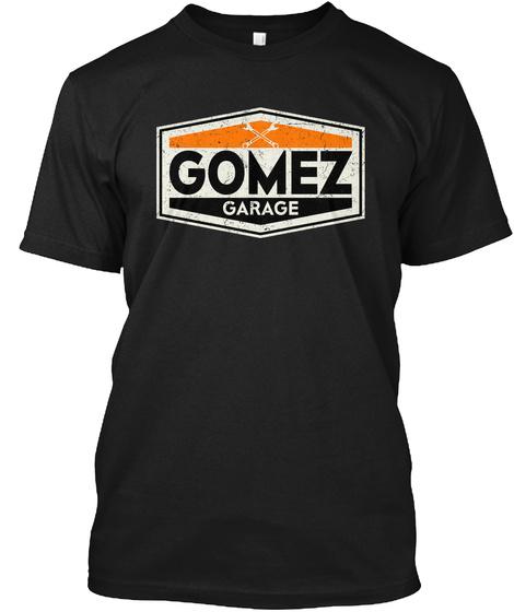 Vintage Gomez Garage Sign Black T-Shirt Front