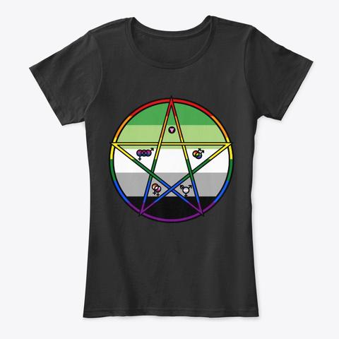 Queer Pentagram Aromantic Black T-Shirt Front