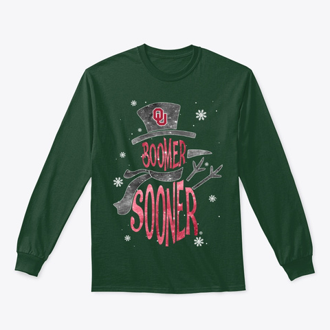 Oklahoma Sooners Christmas Snowman Forest Green T-Shirt Front