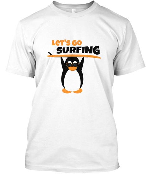Surfer Penguin White T-Shirt Front