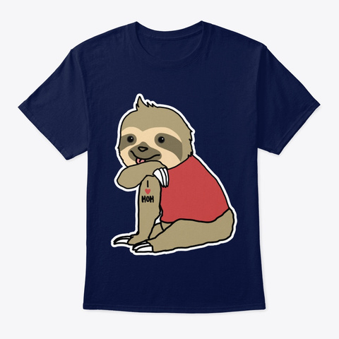 Sloth I Love Mom Navy T-Shirt Front