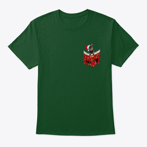 Miniature Pinscher Santa Hat Deep Forest T-Shirt Front