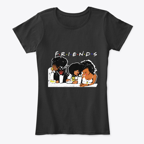 African American Black Friends Apparel Black T-Shirt Front